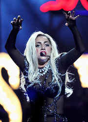 Lady Gaga's layered diamonds added major glamour to her racy outfit during her iHeartRadio Music Festival performance.