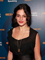 Jenny Slate jazzed up her black look with a gold pendant necklace for the New York premiere of 'Public Speaking.'