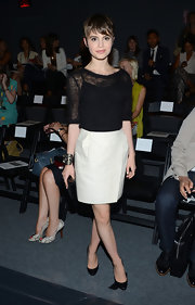 Sami Gayle was casual yet chic in a sheer black knit top during the Chadwick Bell fashion show.