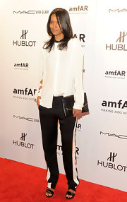 Liya Kebede went for an androgynous look in a boxy white blouse during the amfAR New York Gala.
