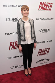 Sami Gayle looked classic and chic in a gray tweed jacket layered over a peplum blouse at the screening of 'Parker.'