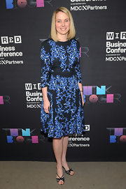 Marissa Mayer donned a blue and black print dress for the Wired Business Conference.