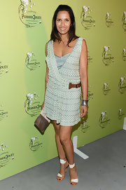 Padma Lakshmi styled her dress with a pair of white and tan ankle-cuff sandals.