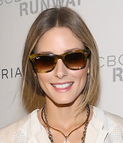 Olivia Palermo pulled her hair back in a soft, loose ponytail for the BCBG Max Azria fashion show.
