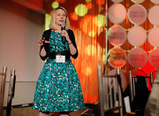Marissa Mayer went for classic sophistication with this green print dress at the Fortune Most Powerful Women dinner.