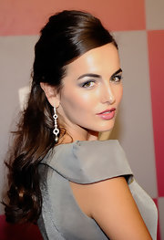 Camilla Belle styled her hair into a half-up 'do that was teased at the top and curly down the ends for the InStyle/Warner Bros. Golden Globes party.