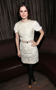 Rachel Bilson styled her LWD with a nude suede belt.