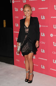 Hayden Panettiere dazzled at the 'Us Weekly' Hot Hollywood event in black Resort 2011 platform peep-toes with crystal-encrusted ankle straps.