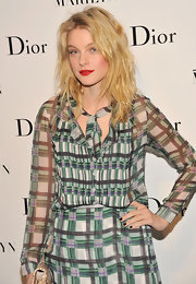 Jessica Stam looked a little edgy with her black nails and tousled hair at the opening of 'Picturing Marilyn.'