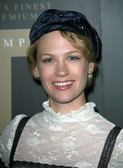 January Jones attended the Trump Vodka launch party wearing a navy velvet beret.