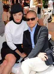 Jessica Stam attended the Veuve Clicquot Polo Classic wearing a veiled black hat by Maison Michel.