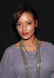 Selita Ebanks sported a short side-parted 'do at the Lacoste Spring 2012 show.