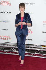 Sami Gayle's fuchsia platform pumps provided a lovely color contrast to her blue suit.