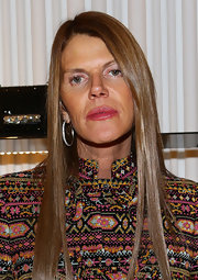 Anna dello Russo went for classic elegance with a pair of diamond hoops during the Valentino cocktail party.