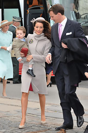 Princess Marie looked perfectly classy in a gray cowl-neck coat at the christening of Crown Prince Frederik of Denmark's twins.