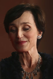 Kristin Scott Thomas opted for a simple short side-parted hairstyle when she attended the Rome Film Festival premiere of 'The Woman in the Fifth.'