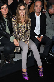 Carine Roitfeld's purple satin lace-up booties totally perked up her outfit at the Lanvin fashion show.