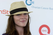 Hilary Rhoda attended the Super Saturday event looking beach-chic in her straw hat.