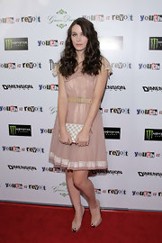 Rooney Mara paired her frock with a checkered clutch.