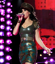 Katy Perry topped off her outfit with a military cap.