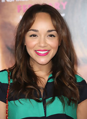Ashley Madekwe chose a bold pink hue for her lips.