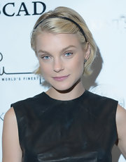 Jessica Stam added a youthful touch with a black headband.