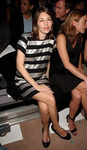 A pregnant Sofia Coppola kept it cute and comfy in black Repetto ballet flats while attending the Marc Jacobs fashion show.