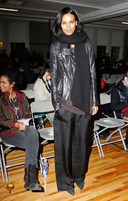 Liya Kebede kept warm in edgy style with a black leather jacket during the Siki Im fashion show.