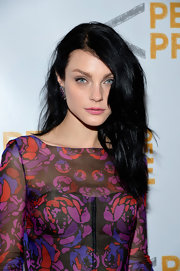 Jessica Stam's pink lipstick contrasted beautifully with her piercing blue eyes.