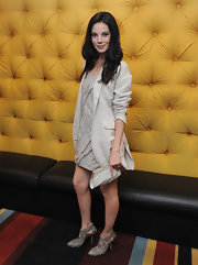 Michelle Monaghan continued the monochromatic palette with a white clutch