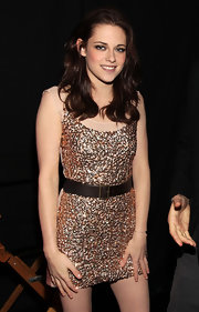 Kristen Stewart paired her beaded mini dress with a black leather belt for the 2011 People's Choice Awards.