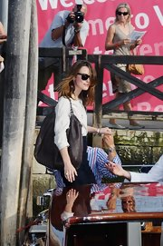 Keira Knightley arrived for the Venice Film Festival carrying a Chanel Coco Cabas bag.