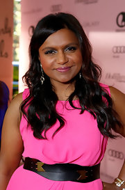 Mindy Kaling accessorized with a chic black and gold belt by Meredith Wendell at the Power 100: Women in Entertainment breakfast.