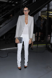 Jenna Lyons topped off her look with an elegant silver crocodile clutch.