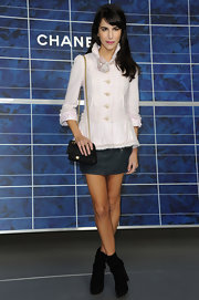 Caroline Sieber injected a dose of sexiness with a super-short denim skirt.