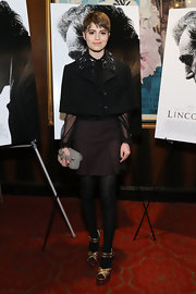 Sami Gayle looked seriously stylish in a black cropped jacket with an embellished collar during the special screening of 'Lincoln.'
