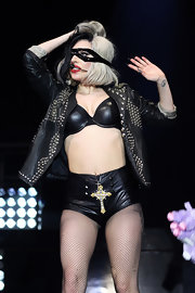 Lady Gaga rounded out her edgy-sexy look with black latex hot pants by Void of Course.
