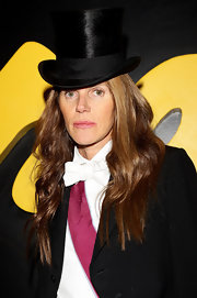 Anna dello Russo teamed a top hat with a tuxedo for the Fendi menswear fashion show.