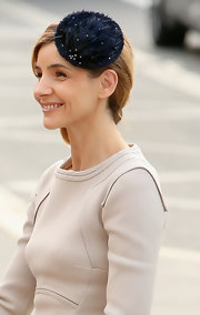 Clotilde wore a furry blue fascinator to the wedding of Prince Guillaume of Luxembourg and Princess Stephanie.