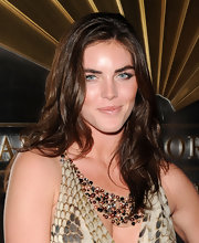 Hilary Rhoda paired her decollete dress with a multicolored beaded statement necklace.