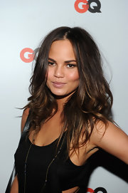 Chrissy Teigen rocked a just-got-out-of-bed hairstyle at the GQ special issue party.