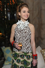 Imogen Poots accessorized with some mega-chunky bracelets for the Marni x H&M collection launch.