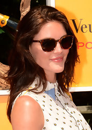 Hilary Rhoda added some retro flair to her look with a pair of Rebecca Minkoff tortoiseshell cateye sunnies during the Veuve Clicquot Polo Classic.