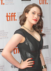 Kat Dennings attended the 'Daydream Nation' premiere wearing popping red manicure.