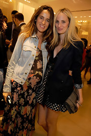 Lauren Santo attended the W bag launch wearing a sexy mini dress, toned down with a stylish black blazer.