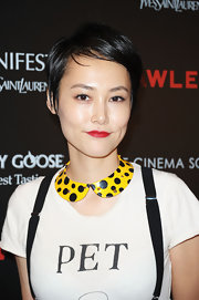 Rinko Kikuchi wore her hair in a side-parted pixie at the screening of 'Lawless.'
