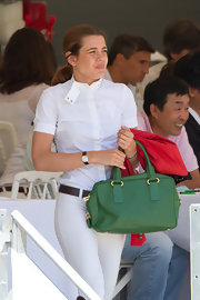 Charlotte Casiraghi was spotted at the Global Champions Tour in Cannes carrying a stylish green leather tote.