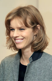 Eva Herzigova was spotted out wearing her hair in a feathery bob.