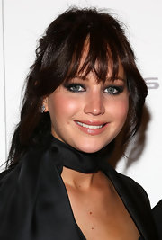 Jennifer Lawrence was a dark beauty with her smoky eyes and black outfit.