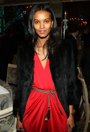 Liya Kebede styled her red jumpsuit with a gold rope belt and a fur coat for the 'Quantum of Solace' after-party.